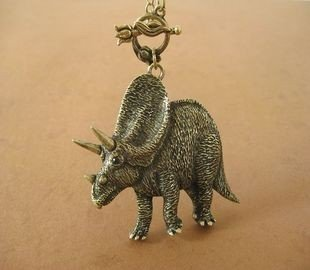 Antique Brass Dinosaur  Necklace Pendant