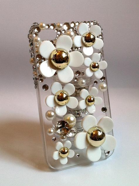 Rhinestones Pearls Phone Case W/ Daisies Deco for iPhone 4