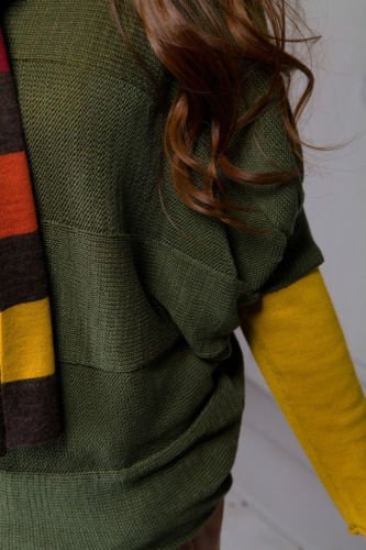 Green Crew Neck Batwing Sleeve Knit Short Sleeved Sweater Knitwear Top Women