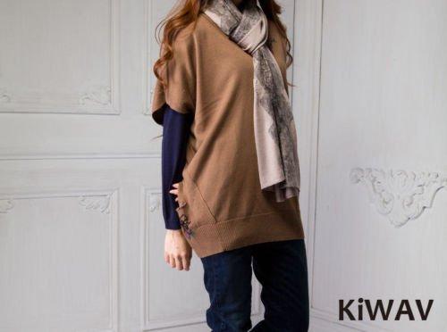 Women Ladies Camel V-neck Batwing Sleeve Merino Wool Knitwear Knit Sweater Top