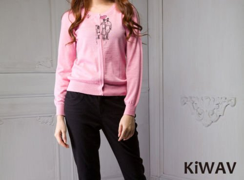 Pink Long Sleeve Cardigan Women Ladies Wool Knitwear Button-front Crew Neck