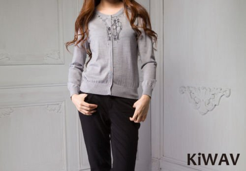 Wool Knitwear Button-front Crew Neck Long Sleeve Gray Cardigan Knit Sweater Top