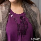 Purple Button-front Crewneck Cardigan Long Sleeve Knitwear Knit Sweater Top Wool