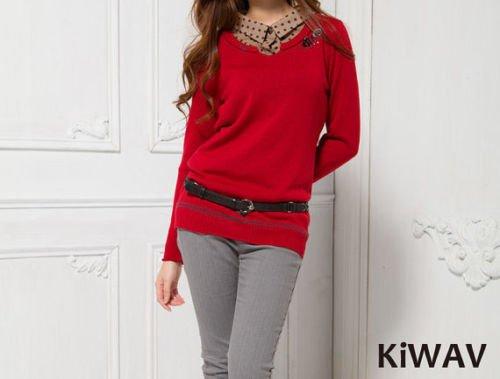 Merino Wool Red Long Sleeve Pullover V-neck Knit Sweater Top Knitwear Women