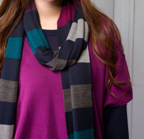 Extra-fine Merino Wool Warm Cozy Multicolored (blue/black/gray) Striped Scarf