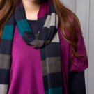 Extra-fine Merino Wool Warm Cozy Multicolored (blue/black/gray) Striped Scarf