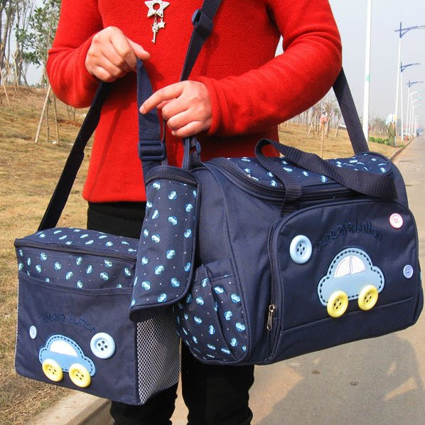2 Multi-Function Baby Tote Nappy Bags + Accessories (Deep Blue) - HOT & NEW