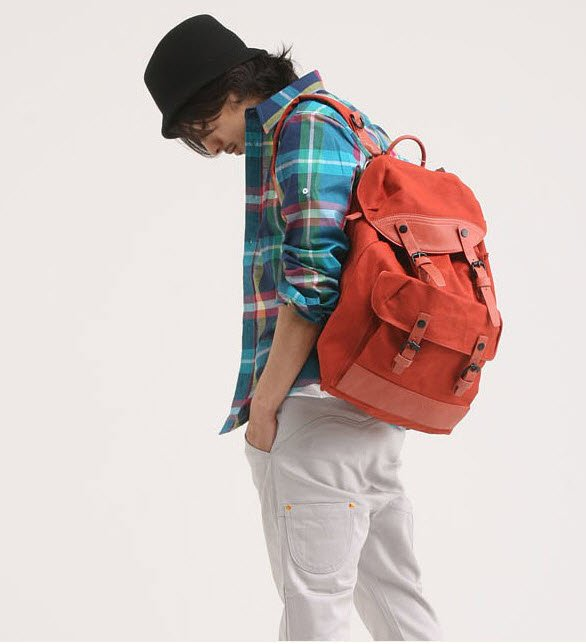 Fashion BIG Canvas Leather Trims Backpack