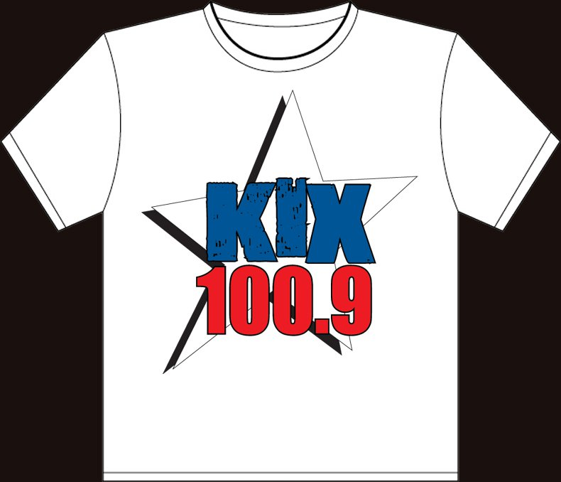 """XL - White - """"Kix 100.9"""" 100% Cotton T-shirt"""