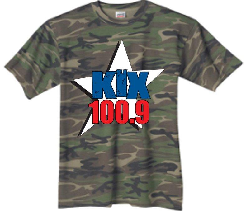 "Small - Camouflage - ""Kix 100.9"" 100% Cotton T-shirt"