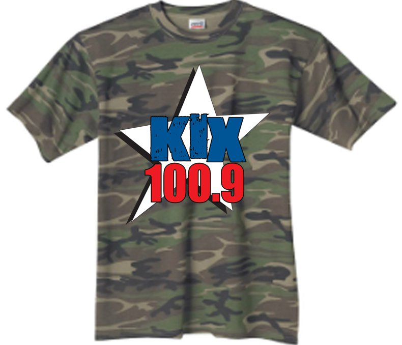 "Medium - Camouflage - ""Kix 100.9"" 100% Cotton T-shirt"