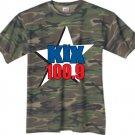 "Large - Camouflage - ""Kix 100.9"" 100% Cotton T-shirt"