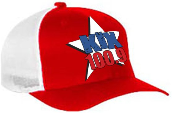 "One-Size-Fits-All ""Kix 100.9"" Red/White Trucker Mesh FlexFit Hat"