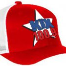"One-Size-Fits-All ""Kix 100.9"" Red/White Trucker Mesh FlexFit Hat"