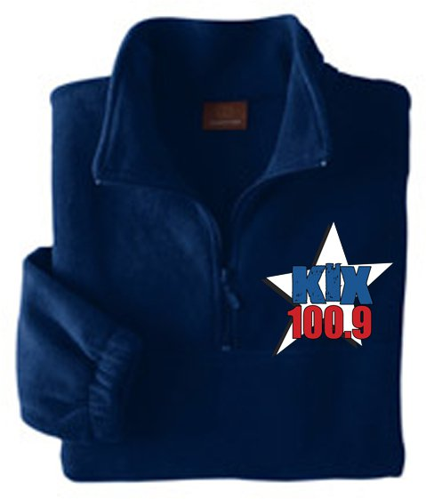 "Medium - Navy - ""Kix 100.9"" Harriton 8 oz. Quarter-Zip Fleece"