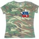 "XL - Camouflage - ""Kix 100.9"" 100% Cotton Ladies T-shirt"