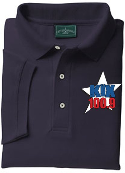 "Large - Navy - ""Kix 100.9"" Outer Banks Collared Shirt"