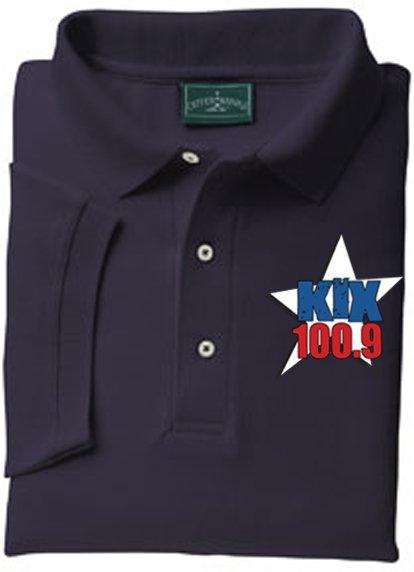 "XL - Navy - ""Kix 100.9"" Outer Banks Collared Shirt"