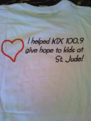 "XXL - White - ""Kix 100.9"" St. Jude 100% Cotton T-shirt"
