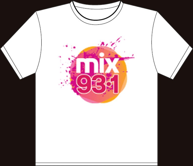 """Small White """"Mix 93.1 - WHYN"""" 100% Cotton T-shirt"""