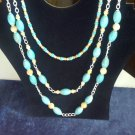 Triple Strand Turquoise, Magesite And Italian Onyx Necklace