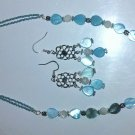 Blue Mother of Pearl necklace and Earing Set