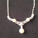 Three Pearl Necklace  White Gold N1099