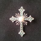 Emerald and pearl Cross Pendent  P-2117