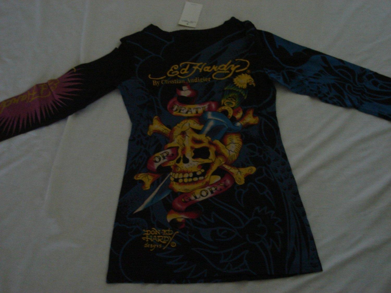 ED Hardy long sleeve womens dress shirt Size XL