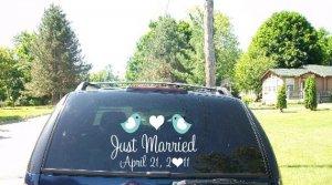 Wedding Getaway Car Decals Just Married Love Birds II