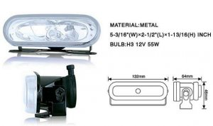 "5"" Rectangular Oval Universal Metal Fog Light Clear"