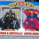 HASBRO 1999 DC SUPERHEROES 4 PACK FEATURING BATMAN, SUPERMAN, KNIGHTFALL BATMAN, & SUPERMAN RED