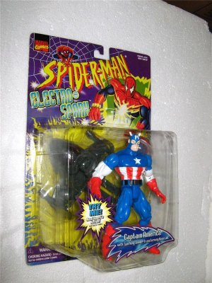 SPIDERMAN ELECTRO SPARK CAPTAIN AMERICA ACTION FIGURE 1997 TOYBIZ