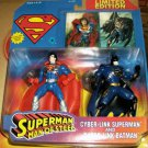 SUPERMAN MAN OF STEEL CYBER LINK SUPERMAN & BATMAN 2 PACK CHROME VARIANT 1996 KENNER HASBRO