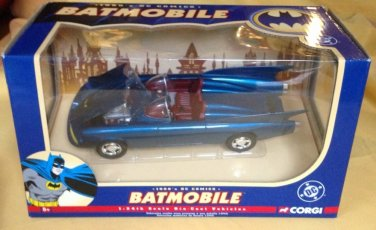 BATMAN 1960s DC COMICS BLUE BATMOBILE CORGI DIECAST 1:24th SCALE VEHICLE 2005 MODEL #77508
