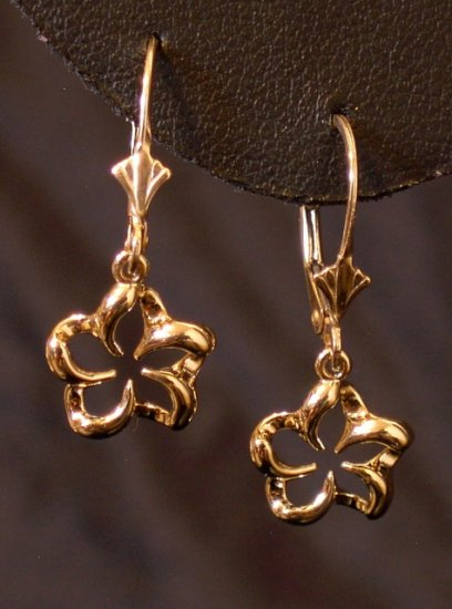 14kt Gold Hawaiian Plumeria Flower Lever Back Earrings, small