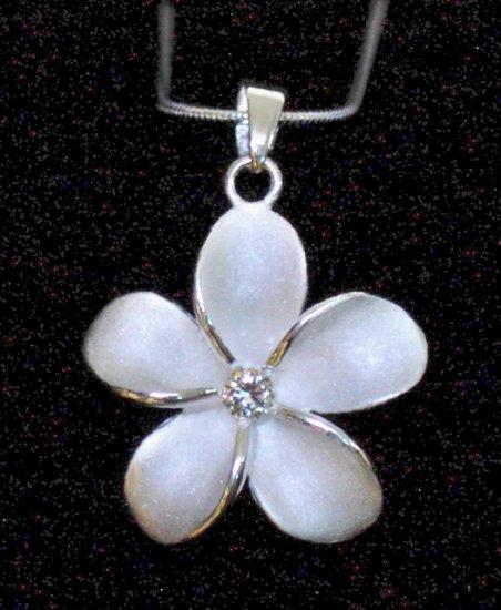 Silver Hawaiian Plumeria Flower Pendant