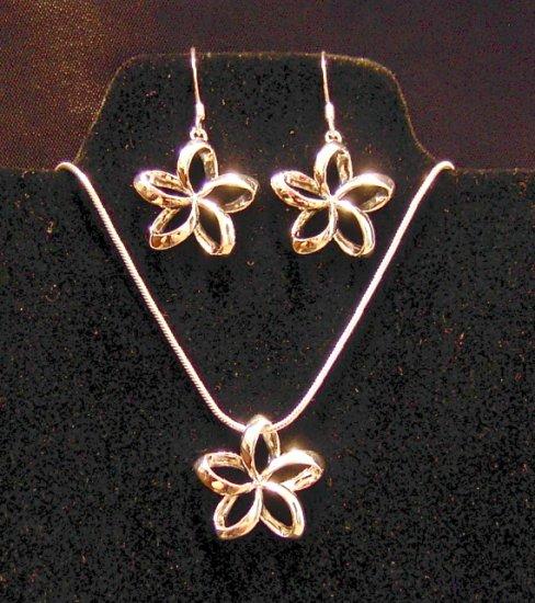 Silver Hawaiian Plumeria Earring, Pendant and Chain Set
