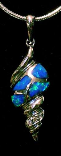 Opal Seashell Silver Pendant