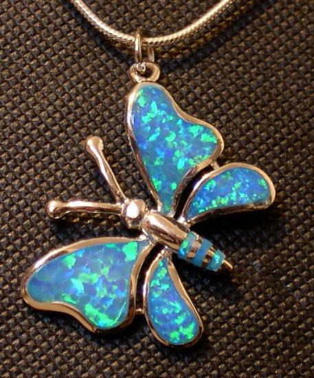 Opal Butterfly Pendant in Silver
