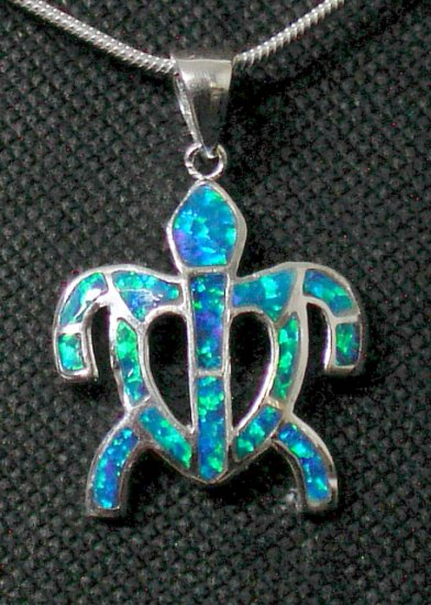 Hawaiian Honu (Turtle) Opal Pendant, silver
