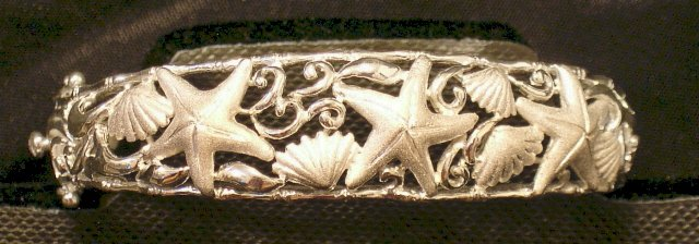 Silver Seashell and Starfish Bangle Bracelet