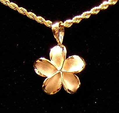 14kt Gold Hawaiian Plumeria Flower Pendant, medium