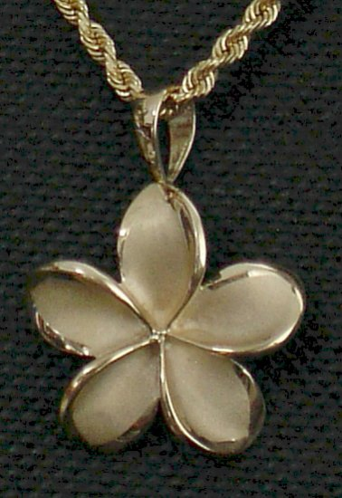 14kt Gold Hawaiian Plumeria Flower Pendant, Large