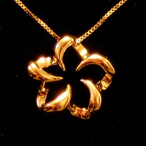 14kt Gold Floating Hawaiian Plumeria Flower Pendant, Medium