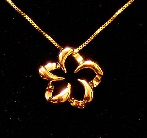 14kt Gold Floating  Hawaiian Plumeria Flower Pendant, Small