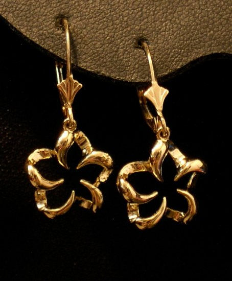 14kt Gold Hawaiian Plumeria Flower Lever Back Earrings, Large