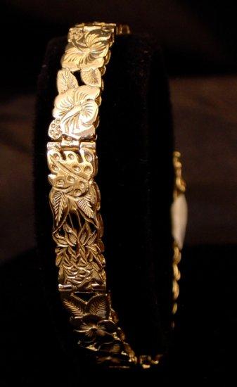 14kt Gold Hawaiian Garden Link Bracelet