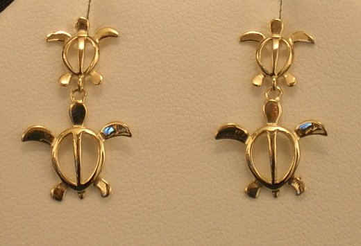 14kt Gold Hawaiian Turtle (honu) Earrings