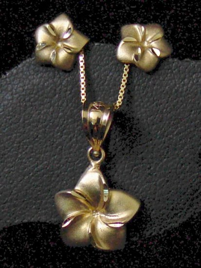 14kt Gold Hawaiian Plumeria Flower Earrings, Penadant & Chain